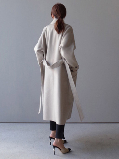 Women Wide Lapel Belt Wool Blend Long Coat 2
