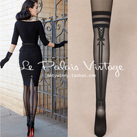 FREE SHIPPING Le Palais Vintage Sexy Elegant Vintage Stockings Double Striped Bow Jacquard Tights See Through