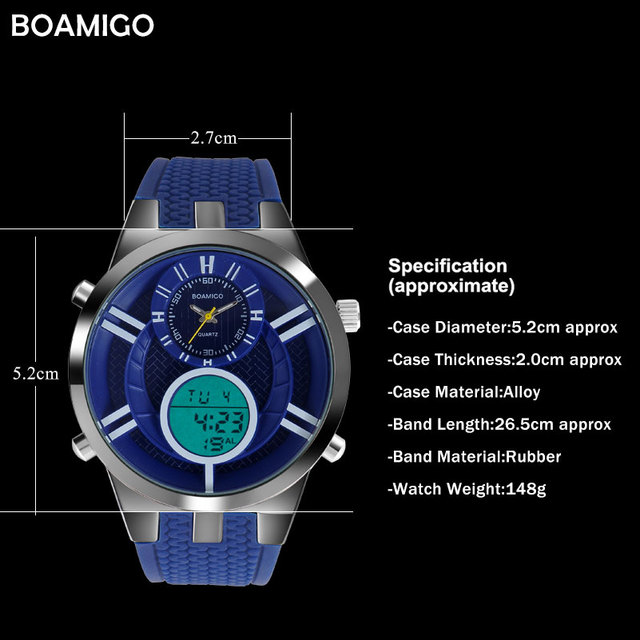 men sport watches fashion quartz watch dual display analog digital watch BOAMIGO brand men rubber LED waterproof wristwatches