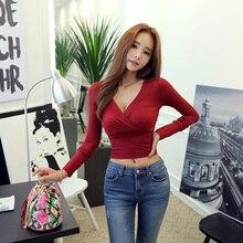 gkfnmt Sexy Deep V Neck Top Long Sleeve Tshirt Women Short Crop Tops Black 2018 New Fashion T Shirt Femme Poleras De Mujer