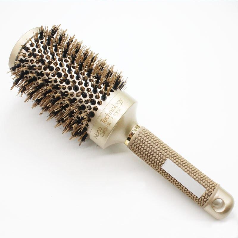 Nano Ionique Poils de Sanglier Brosse À Cheveux Salon Peigne Coup Baril Sec cheveux Brosse Ronde En 4 Tailles Salon Professionnel Styling Outils B-087