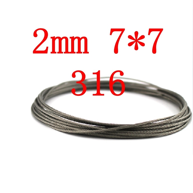 2mm 7*7 316 Stainless Steel Aircraft Cable Wire Rope 7x7-in Tool ...