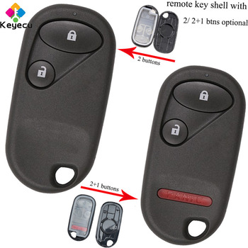 KEYECU Replacement Remote Car Key Shell Case With Battery Holder - 2/ 2 1/ 3 Buttons - FOB for Honda Civic CRV Accord Jazz Fit image