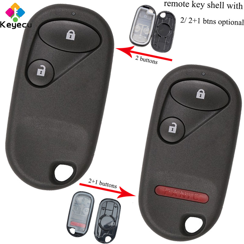 KEYECU Replacement Remote <font><b>Car</b></font> Key Shell Case With <font><b>Battery</b></font> Holder - 2/ 2 1/ 3 Buttons - FOB for <font><b>Honda</b></font> Civic CRV <font><b>Accord</b></font> Jazz Fit image