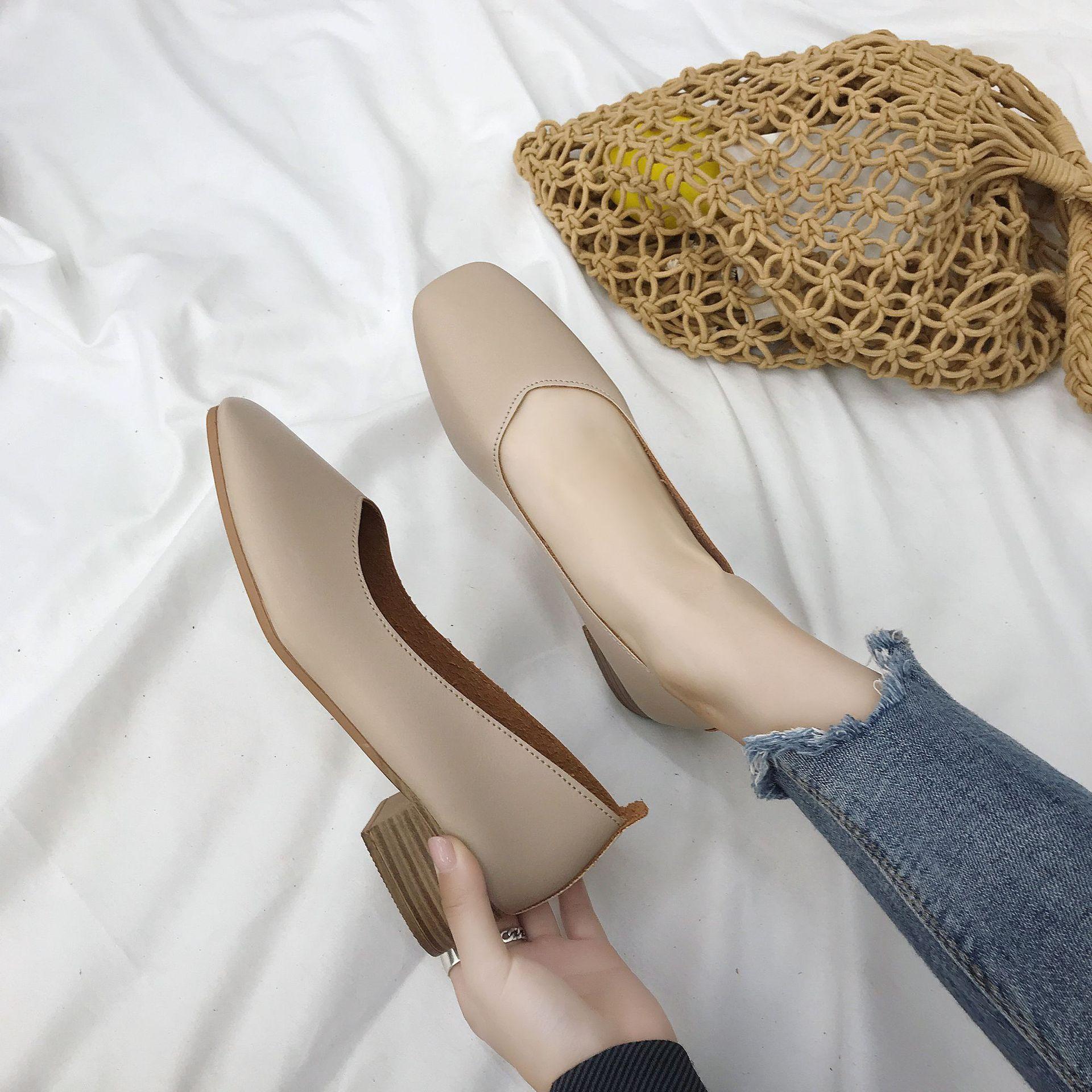 Nouvelle mode femmes chaussures carrés talons décontracté chaussures douces