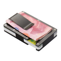 RFID Thin Metal Mini Credit Card Holder ID Fashion Anti Chief Wallet Travel Money Clip Porte