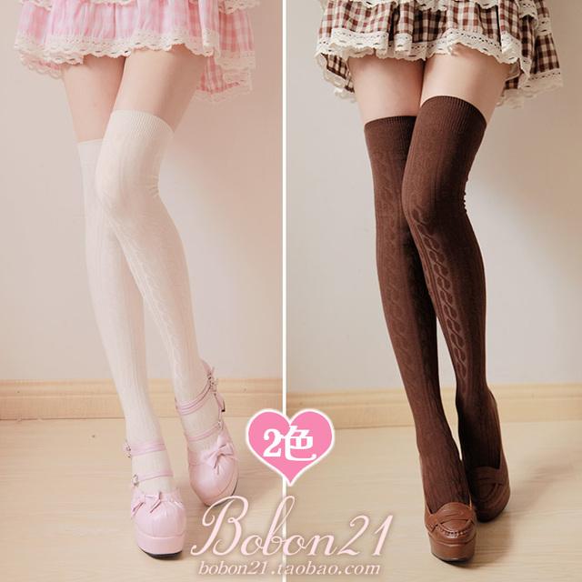 Princesa meias lolita doce outono e inverno quente algodão bares torcida over-the-knee meia grossa coxa na altura do joelho alta ac0886