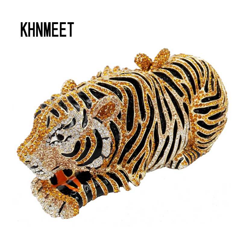 Bolso de noche de cristal de lujo de tigre Animal bolso de fiesta de cóctel de leopardo bolso de mano envío gratis bolsos de embrague de mujer monedero SC030-in Bolso de noche from Maletas y bolsas    1