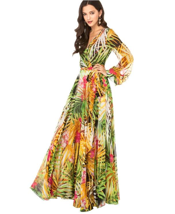 3b1714667e817 UK roupas femininas v neck plus size long maxi dresses long sleeve pleated  chiffon dress novidades vestidos longos casual dress-in Dresses from Women s  ...