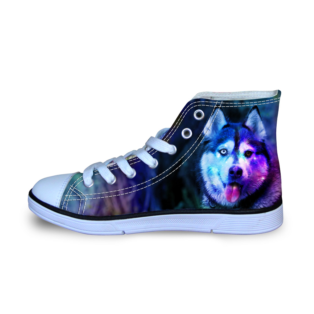 Cute Animals Canvas Shoes for Man Husky Bulldog Printed Flat Sneakers for School Boys Students Ultralight Loafers Size 29-34