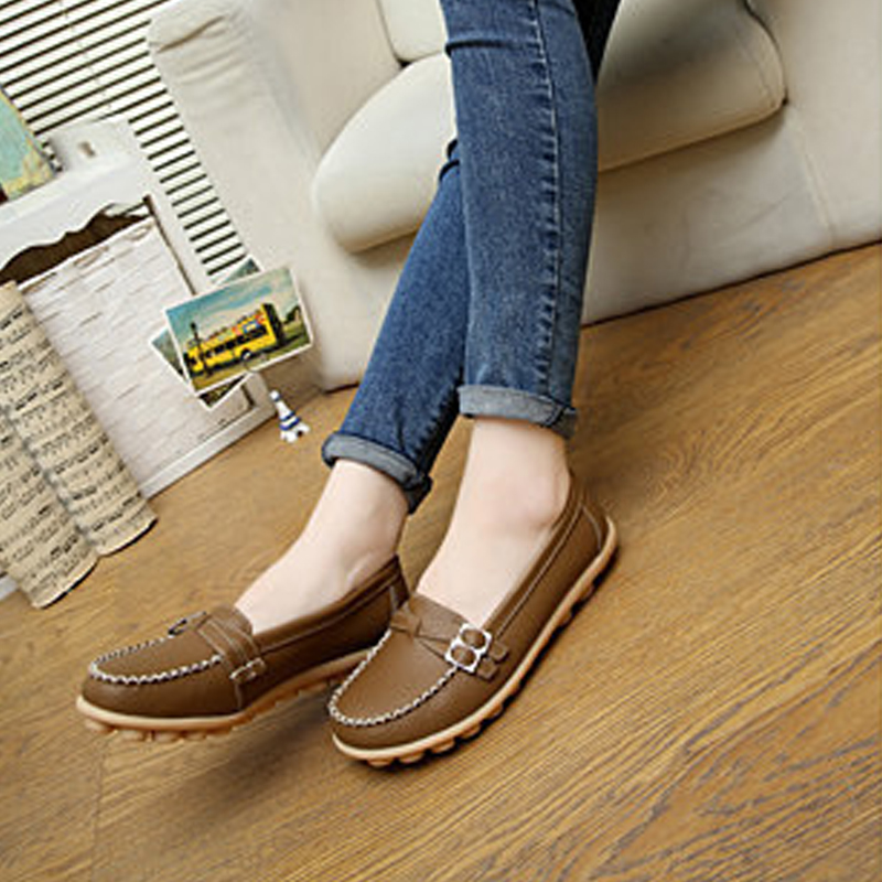 2017 Shoes Women PU Leather Women Shoes Flats Loafers Slip On Comfortable Women's Flat Summer Shoes Moccasins DT915 women s genuine leather slip on loafers brand designer flats moccasins leisure espadrilles antiskid comfortable shoes for women