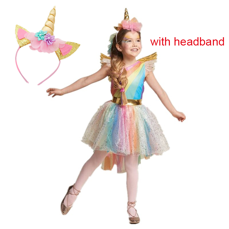 Girls Christmas Dress Colorful Unicorn Baby Halloween Costumes Kids Party Carnival Fancy Dresses Children Clothing For 3 5 6 8Y