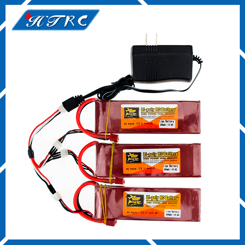 3PCS RC Drone Batteria 5000mah 7.4V Lipo Battery 40C XT60 T Plug With Fast Charger 3in1 Cable Set For RC Quadcopter Helicopters