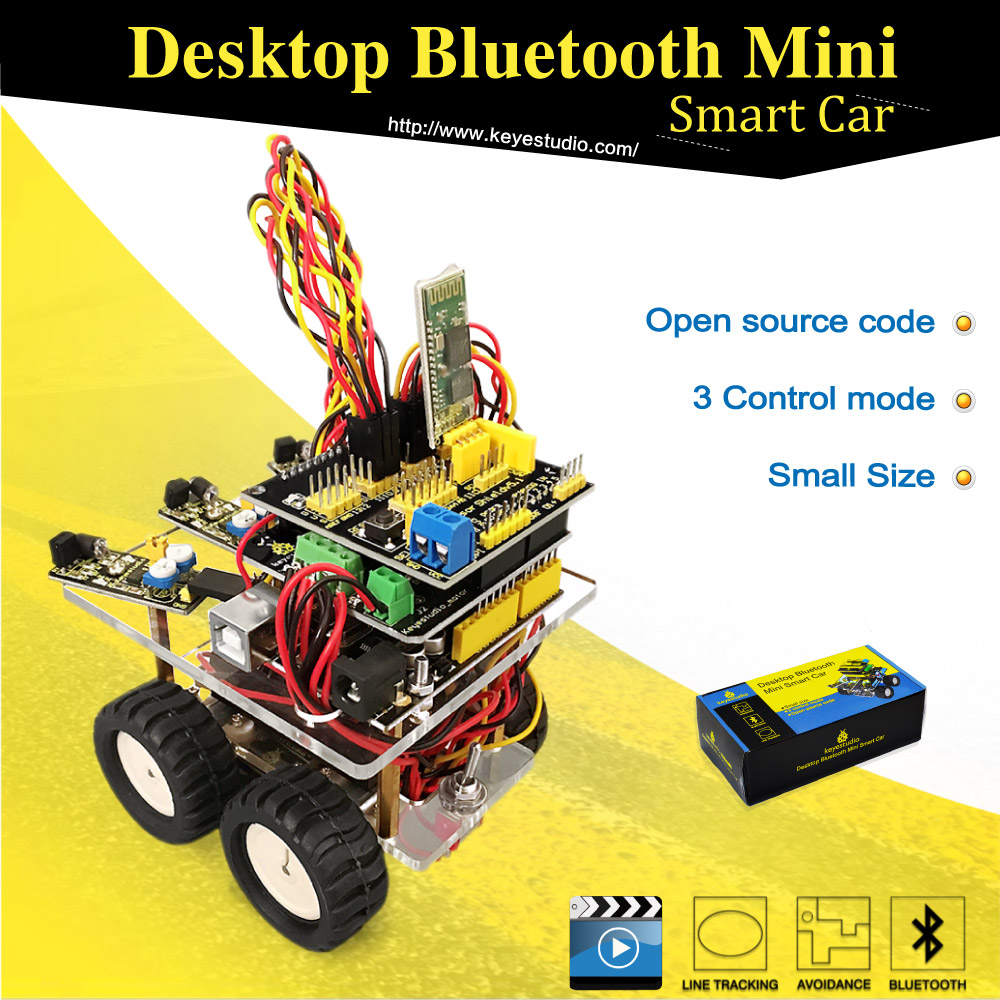 New! Keyestudio Desktop Wireless Bluetooth Mini Smart Car Robot car DIY Kit