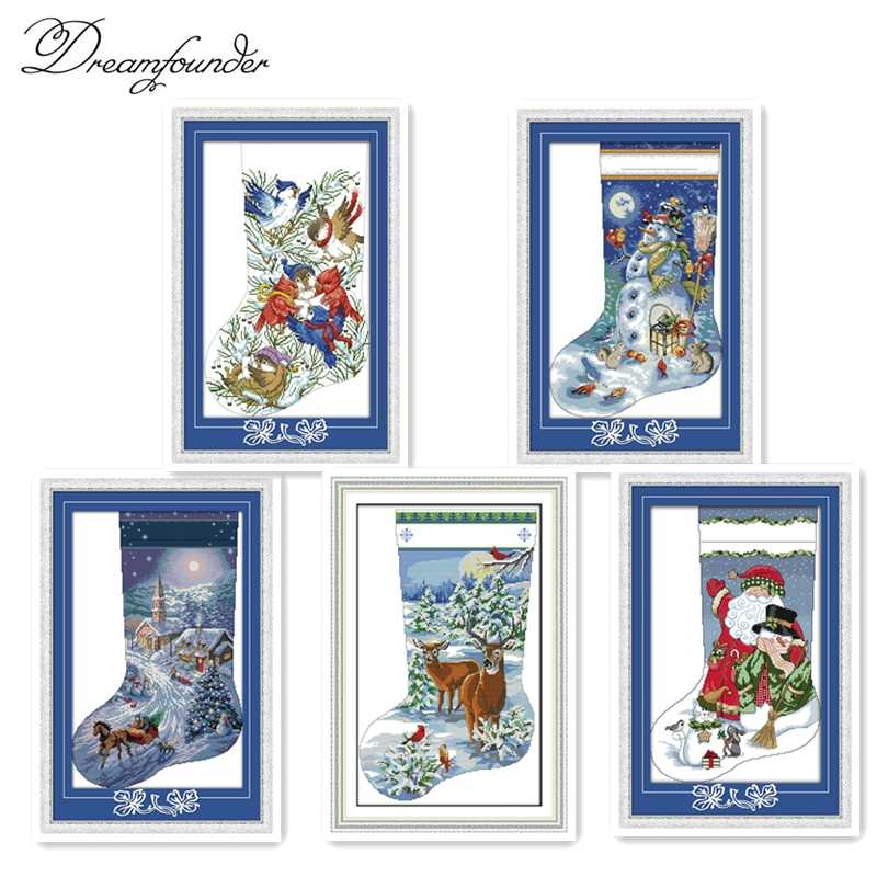 Christmas stocking (2) cross stitch kit DIY hand embroidery set craft handmade needlework