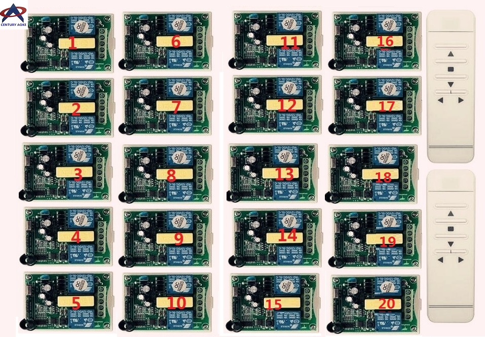AC 220 В интеллектуальный цифровой РФ беспроводной пульт дистанционного управления выключатель системы + 20 штук приемник для проекционный эк