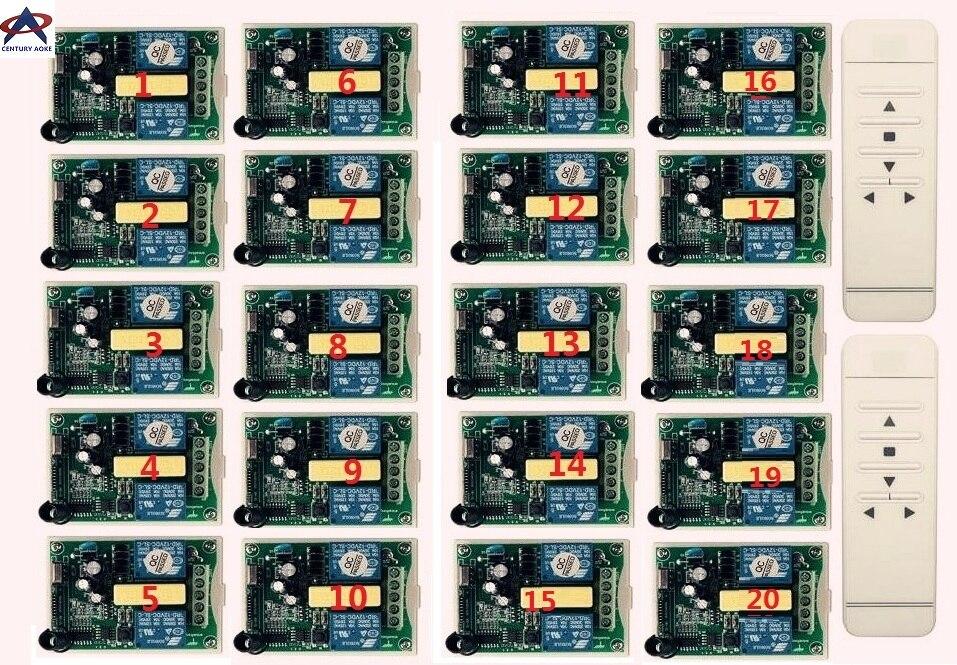 Système de commutateur de télécommande sans fil RF numérique intelligent AC 220 V + récepteur 20 pièces pour écran de projection/porte de garage/stores