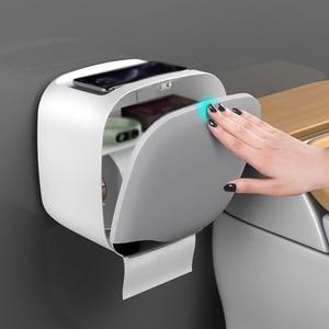 Image 3 - Wall Mount Toilet Paper Holder Shelf Tissue Box Waterproof Toilet Paper Tray Roll Paper Tube Bathroom Storage Box Organizer