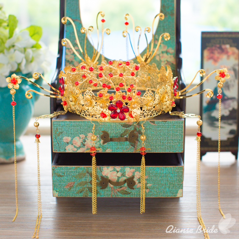 Chinese bride headdress costume red floral hairpin wedding hairwear and earrings photography wedding hair accessories luxiang red gorgeous ancient chinese wedding hair tiaras for bride and groom or no 1 scholar officer hat