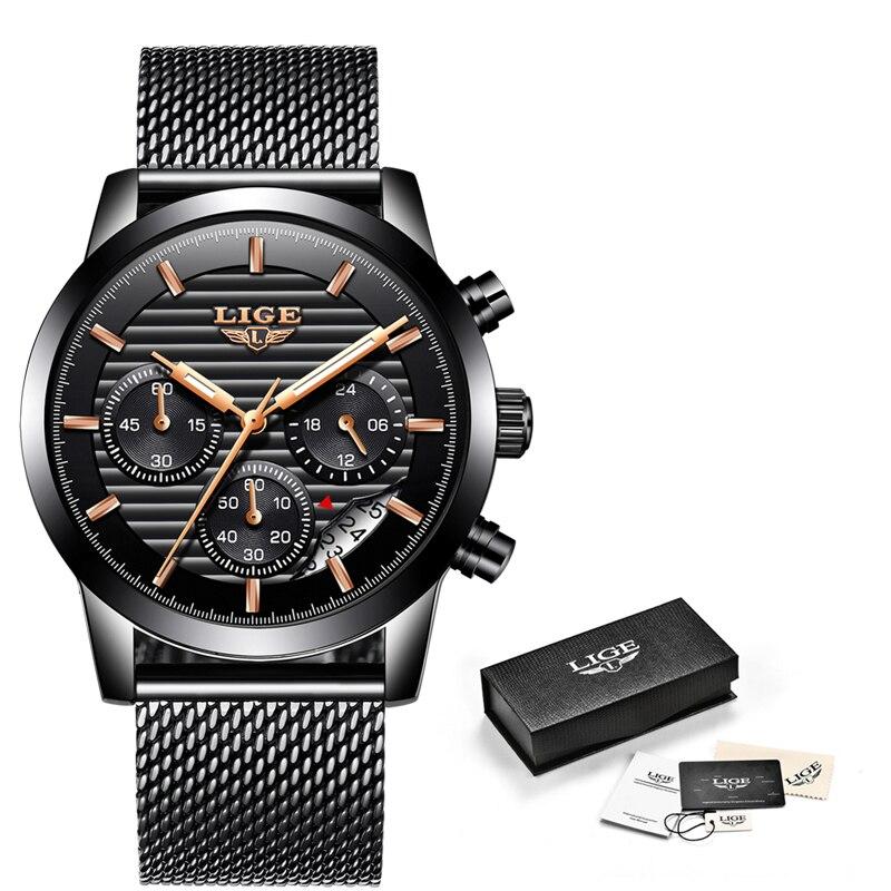 Купить lige новые часы мужские кварцевые повседневные модные с сетчатым