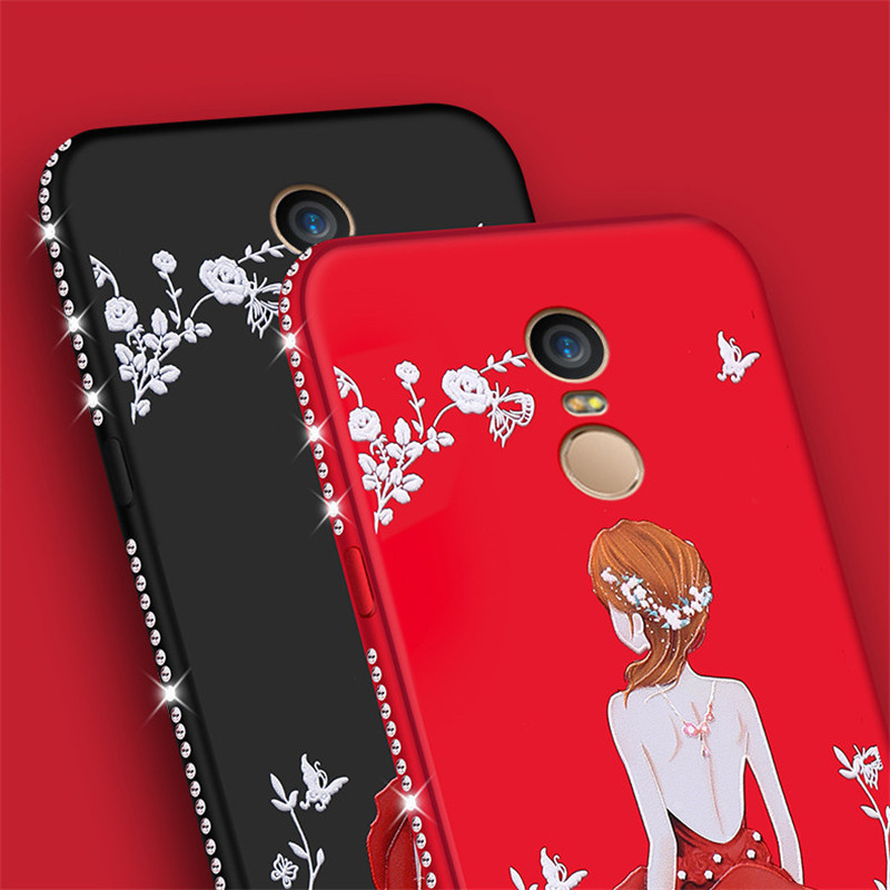 best website 4a672 59262 For Xiaomi Redmi Note 3 Case 5.5 Inch Crystal Diamond Flower Girl Case Soft  Silicone Phone Case For Redmi Note 3 Pro Back Cover