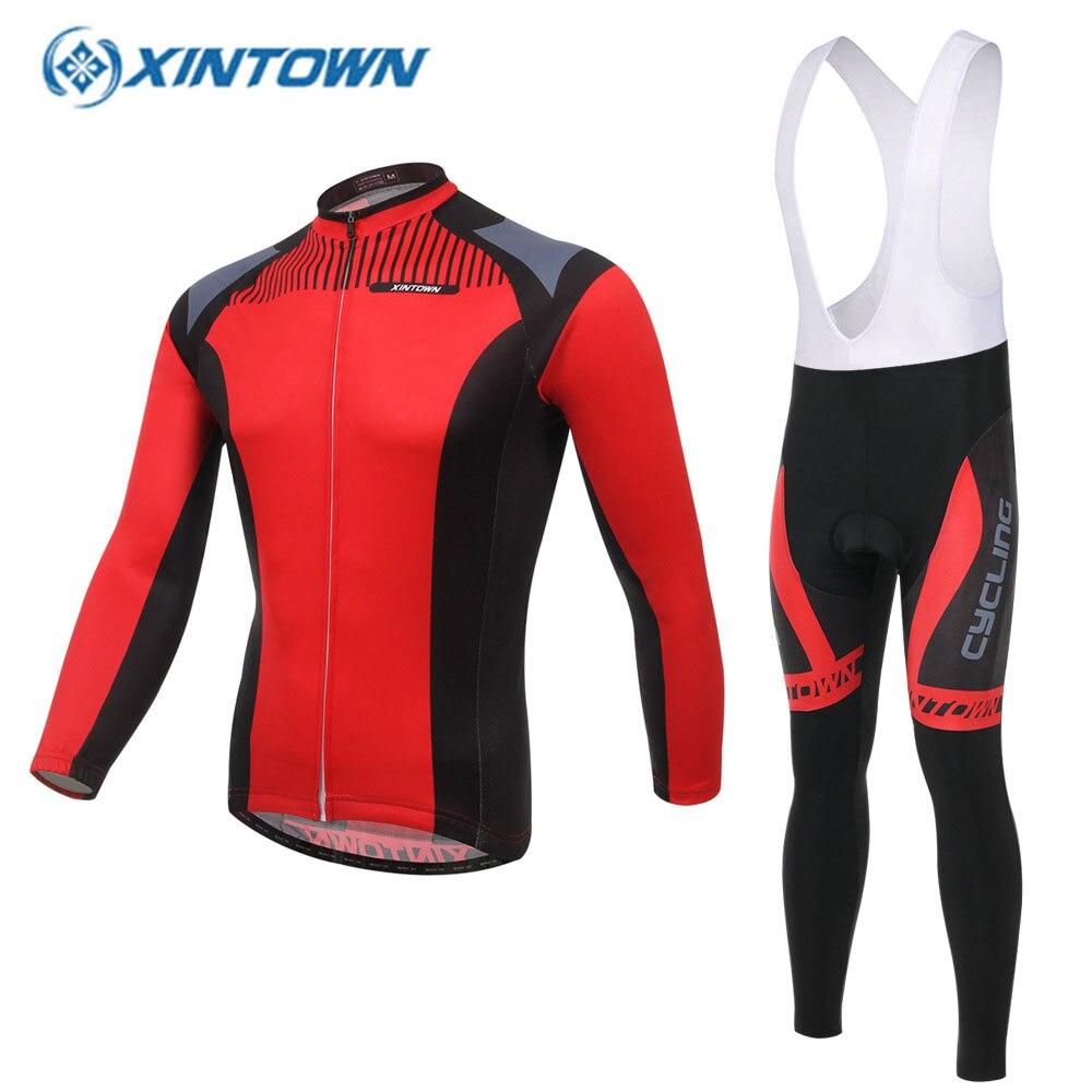XINTOWN с длинным рукавом нагрудник комплект Велоспорт-Джерси Pro команда 2018 Весна Combinaison роковой Майо велосипедистов вело Красный Спортивная одежда