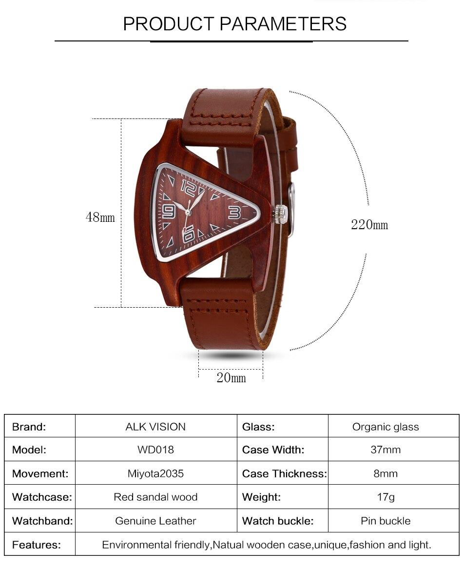 ALK leather strap female male wooden wristwatch 32