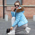 2016 Women's Winter Jacket Warm Cotton Clothing Slim Fur Collar Down Coat Padded Coats Women Down Jacket FB6037