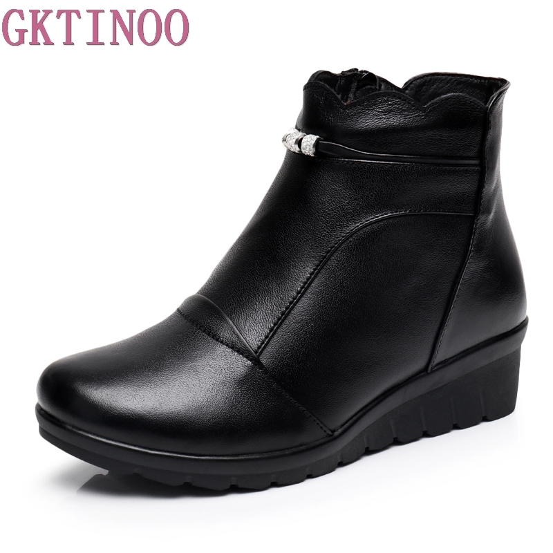 GKTINOO Winter Shoes Woman Genuine Leather Snow Boots New Fashion Casual Wedges Ankle Boots Women Warm Shoes Women Boots недорго, оригинальная цена