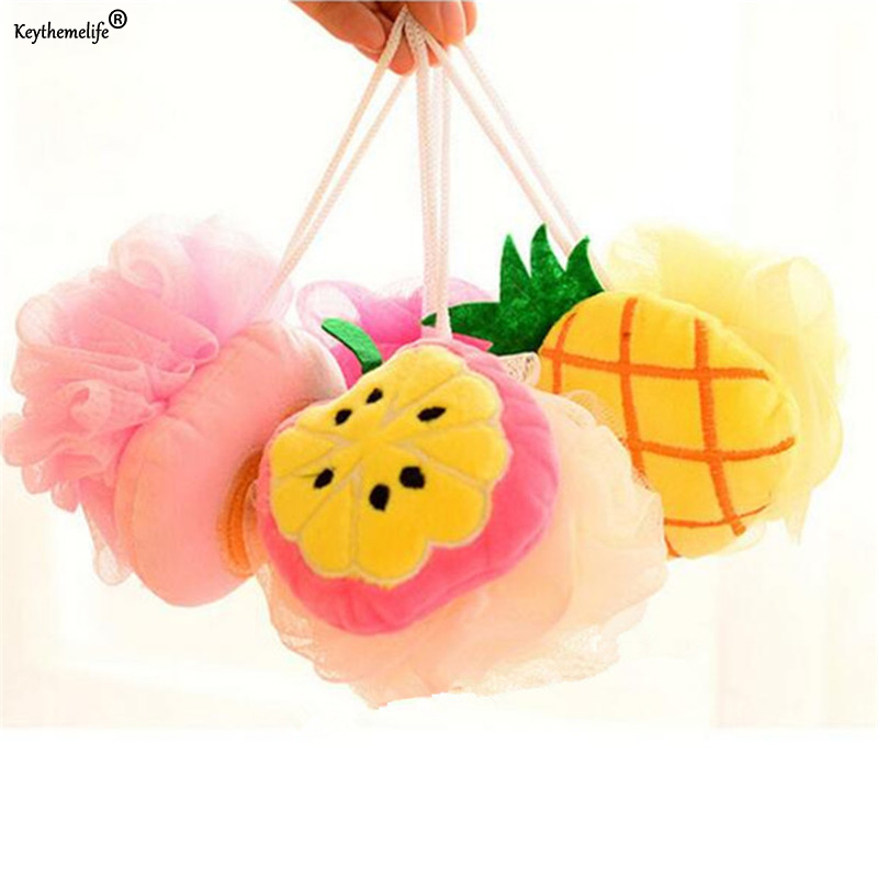 1PC Color Fruit Shape Bath Ball Bathroom Bath Sponge Rubbing Towel Lovely Shower Bath Flowers/Bath Brush 9D