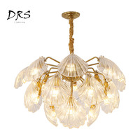 Nordic Art Crystal Chandelier Warm Shell Glass Lustre Pendant Lamp Clothing Store Postmodern Suspension Luminaire Lamparas