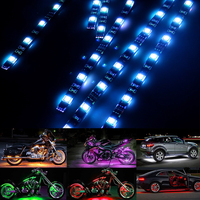 12PCS RGB LED Car Motorcycle Chopper Frame Glow Lights Flexible Neon Strips Kit Waterproof 15 Color SMD Motorcycle Strip