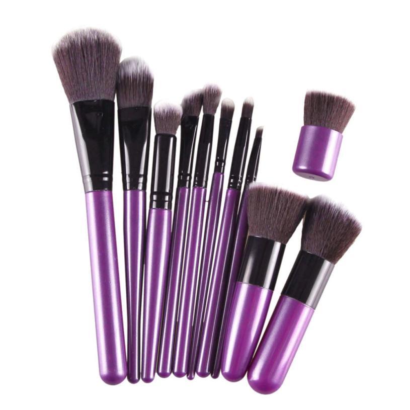 Beauty 2017  11Pcs Blending Unicorn Makeup Brushe Pro Soft Contour Face Powder Foundation Blush Brush Makeup Cosmetic Tool flat foundation face blush kabuki powder contour makeup brush cosmetic tool hot sale