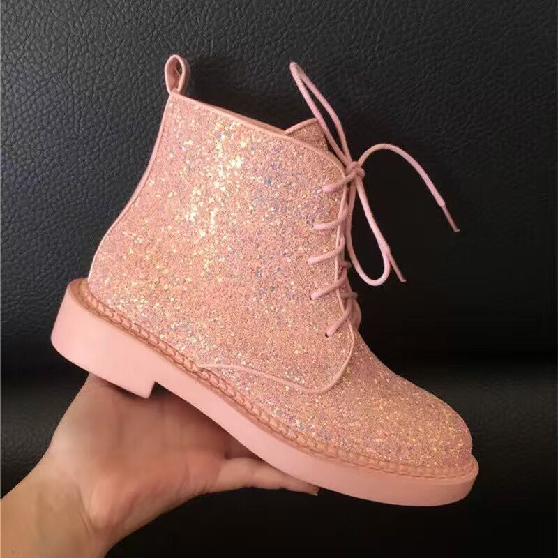 Women Glitter Lace up Ankle Boots  4