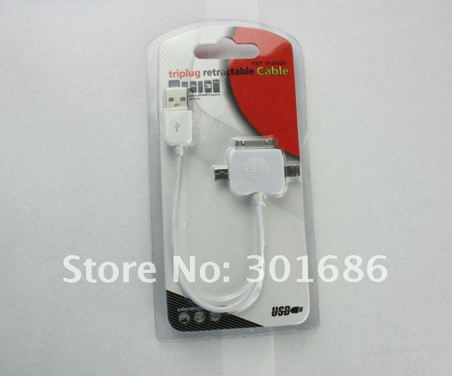 New arrival Hot sell Free shipping Triplug retractable cable usb 3 in 1 cable for 3GS 4G 4S      100pcs/lot