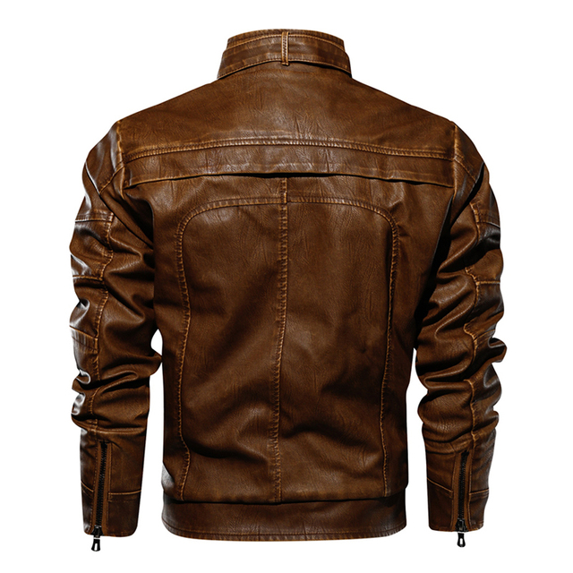 Stand Collar Motorcycle Leather Jacket