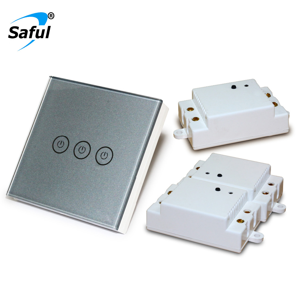 Saful Wall Light wireless Touch Switch 3 Gang 3 Way Smart Home switch Long Distance with 3 Receivers Touch Switch Free Shipipng saful 12v remote wireless touch switch 1 gang 1 way crystal glass switch touch screen wall switch for smart home light