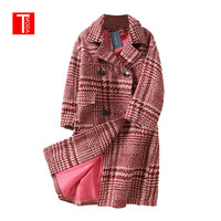 Fashion Ladies 2018 New Autumn Winter Retro Coat Oversize Long Wool Coat Women Plus Size Vintage Parka Coats Thick Outwear