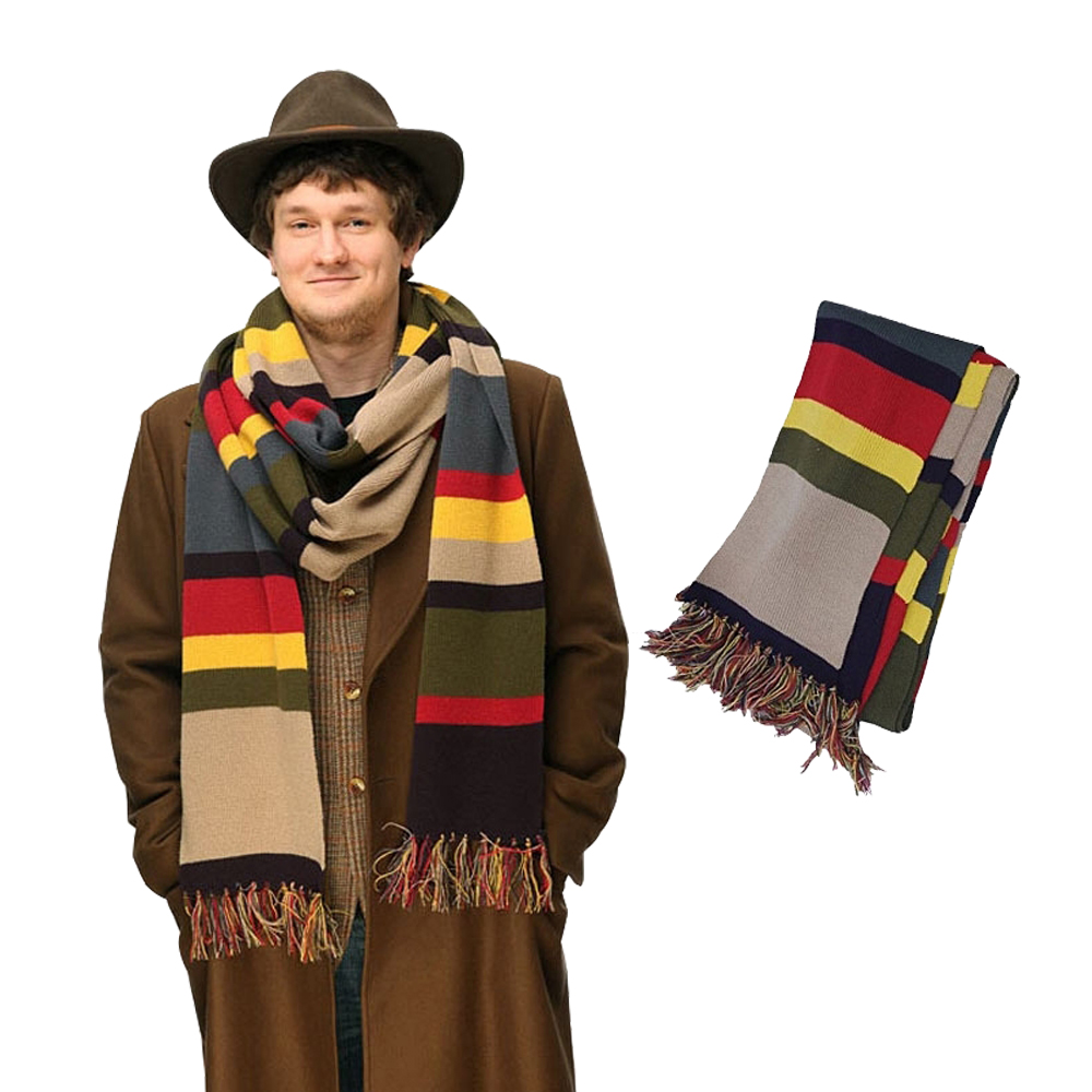 TV Dr Doctor Who bufanda delxue rayas Tom Baker bufanda invierno cálido super largo 143*9 pulgadas mantón Cosplay traje tamaño regalo 365*23 cm