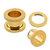 Pated Gold Piercing Flesh Screw Tunnel Plug 316L Stainless Steel With Abrazine