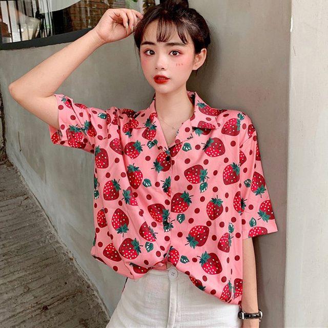 2019 New Women Blouses Holiday Casual Short Sleeve Tops Ladies Strawberry Printed Shirt Korean Summer Fashion Women Clothing 18