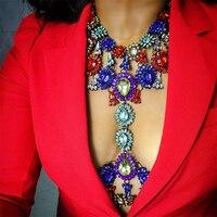 Dvacaman Merk 2017 Vrouwen Crystal Verklaring Ketting & Hanger Zomer Vocation Bruiloft Lichaam Sieraden Accessoires Femme Bijoux P1