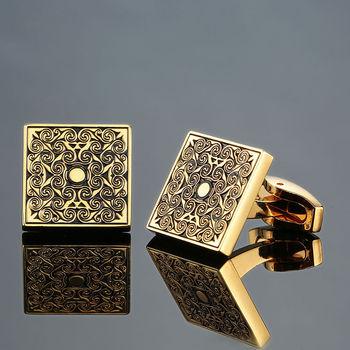 DY New luxury jewelry brand of high-grade mahogany carbon fiber retro pattern Cufflinks men's shirts 1
