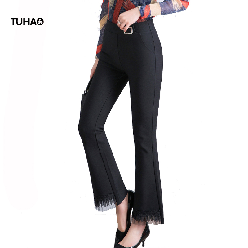 TUHAO 2019 Autumn Large Size Flare Pants Hem Mesh Lace Patchwork High Waist Women Trousers Slim Elastic Casual Pants LQ157