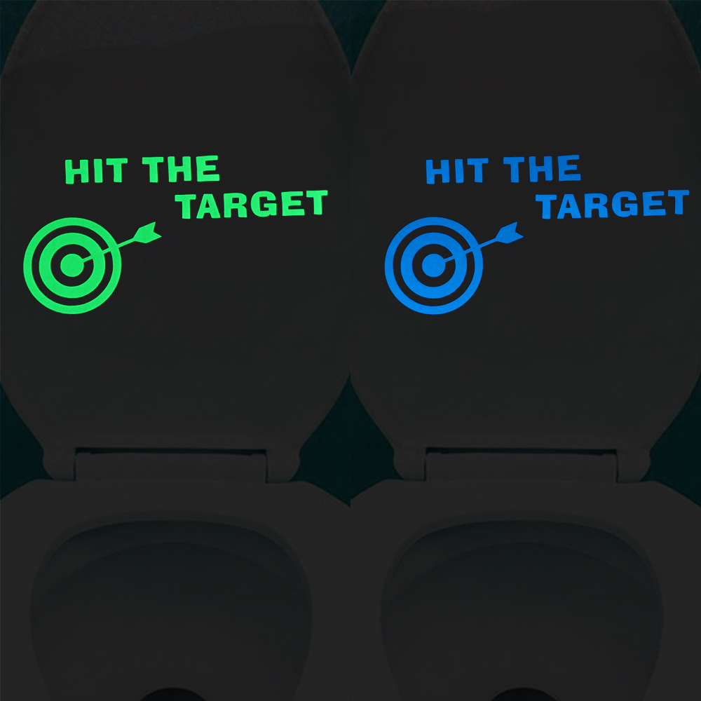 Glow in the Dark Hit the Target Toilet Aiming Stickers Bathroom Art Deco Funny Decals Washroom Lavatory DIY Decorations
