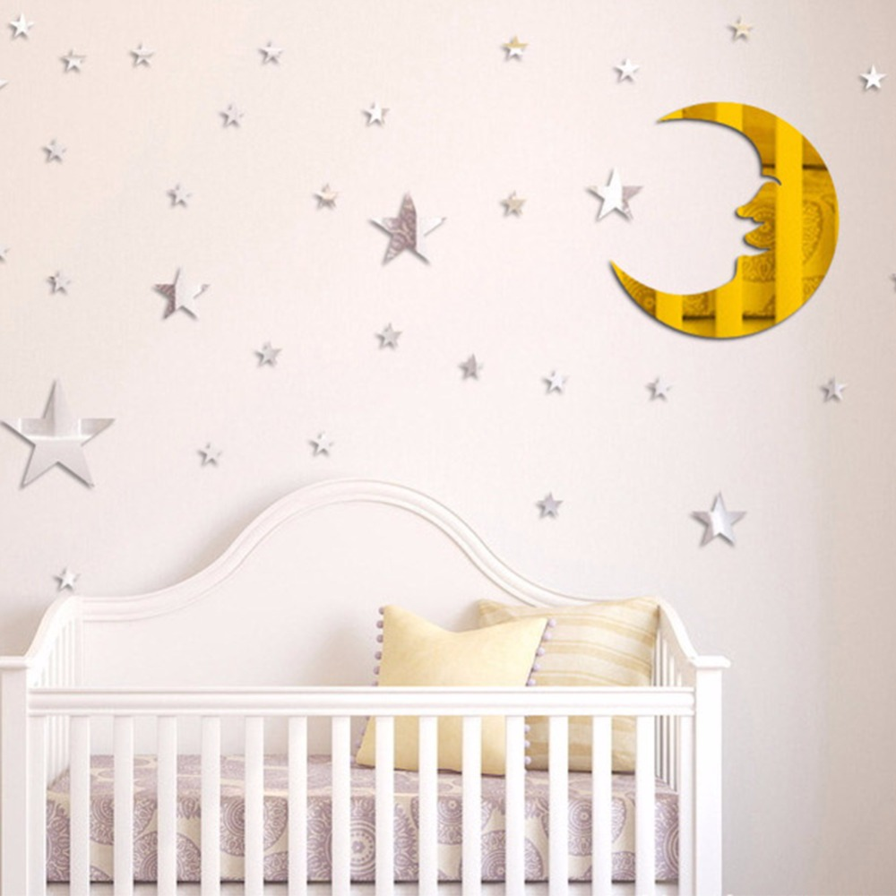 sun wall decals promotionshop for promotional sun wall decals on  - sun moon star home decorative wall decal diy removable mirror surface wallstickers children's room bedroom cartoon stickers a