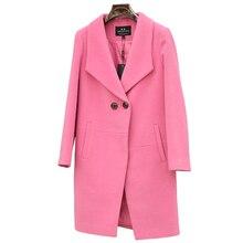 Winter cashmere wool coat female medium long thickening woolen outerwear suit