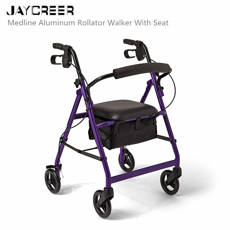 JayCreer Super Light Rollator Lightweight Aluminum Loop Brake Folding Walker Adult W height Adjustable Seat By
