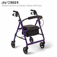 JayCreer, супер светильник, Rollator, светильник, вес, алюминиевая петля, тормоз, складные ходунки, для взрослых, W/регулируемая высота, сиденье, ноги и руки