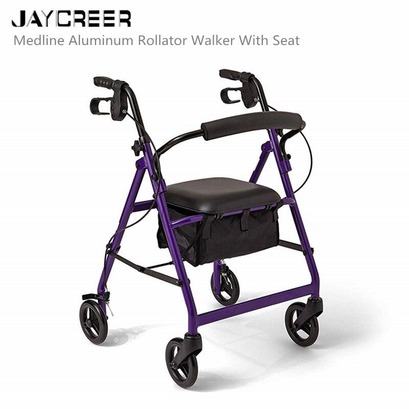 JayCreer Super lekki chodzik rehabilitacyjny lekki aluminium pętli hamulca składany Walker dla dorosłych W/wysokość regulowany fotel przez nogi i ramiona w Laska od Uroda i zdrowie na  Grupa 1